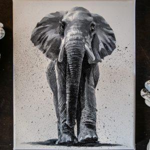 Elephant acrylique noir et blanc